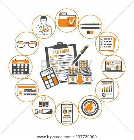 Auditing, Tax Process Calculation, Business Accounting Infographics With Two Color Icons In Flat Sty