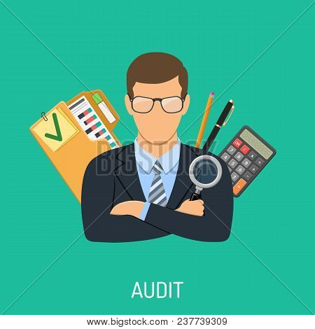 Auditing, Tax, Business Accounting Concept. Auditor Holds Magnifying Glass In Hand And Checks Financ
