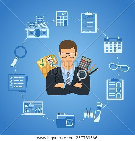 Auditing, Tax Process, Business Accounting Infographics. Auditor Holds Magnifying Glass In Hand And