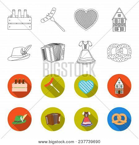 Tyrolean Hat, Accordion, Dress, Pretzel. Oktoberfest Set Collection Icons In Outline, Flat Style Vec