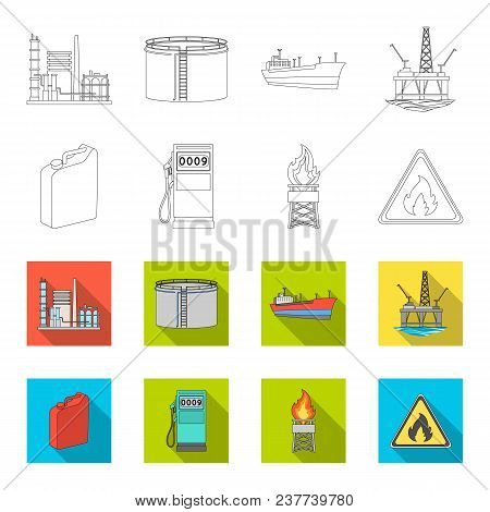 Canister For Gasoline, Gas Station, Tower, Warning Sign. Oil Set Collection Icons In Outline, Flet S