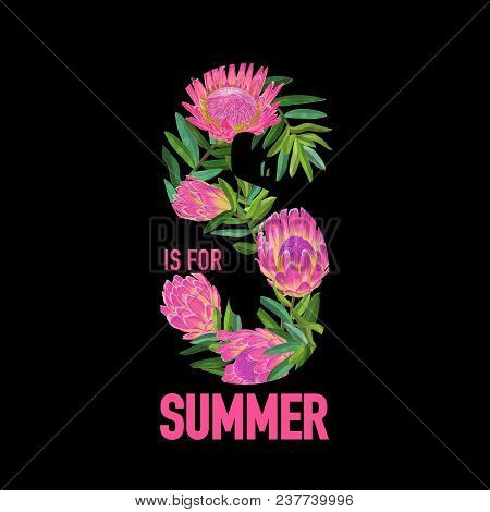 Hello Summer Botanical Tropical Design. Floral Vintage Background With Pink Protea Flowers For Print
