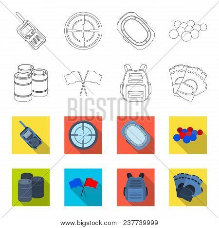 Protective Vest, Gloves And Other Equipment. Paintball Single Icon In Outline, Flet Style Vector Sym