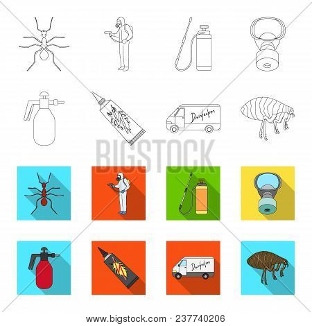 Flea, Special Car And Equipment Outline, Flet Icons In Set Collection For Design. Pest Control Servi
