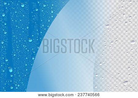Vector Blue Wet Realistic Background Template For Windows Cleaning Ad