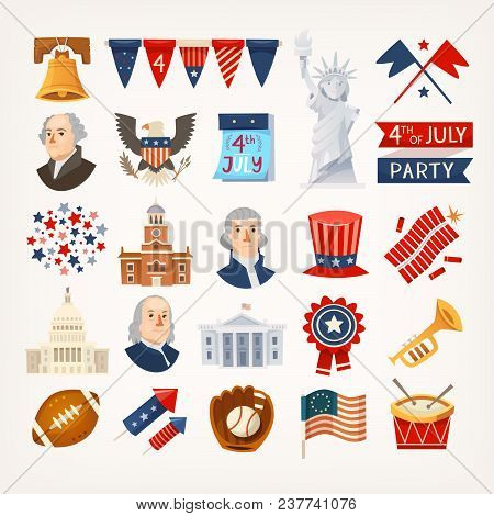 Set Of Colorful Icons Stickers And Elements Representing Usa Traditions, Landmarks And Famous Histor