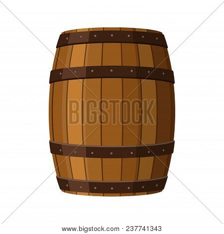 Alcohol Barrel, Drink Container, Wooden Keg Icon Isolated On White Background. Barrel For Wine, Rum,