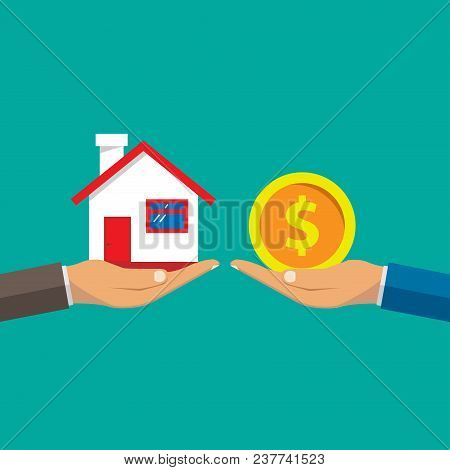 A Hand Agent With A House In The Palm Of Your Hand. Exchange Of A House For Money. Proposal Of Buyin