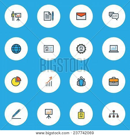 Trade Icons Colored Line Set With Growing Stats, Bag, Comment And Other Financial Profit Elements. I