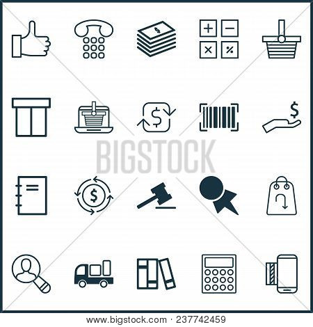 Commerce icons set with like, telephone support, shipping and other spectator elements. Isolated vector illustration commerce icons. poster