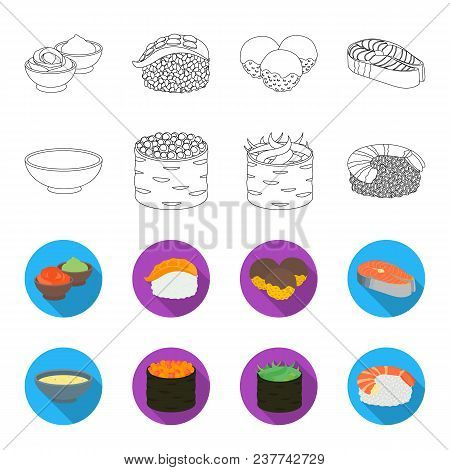 Bowl Of Soup, Caviar, Shrimp With Rice. Sushi Set Collection Icons In Outline, Flat Style Vector Sym