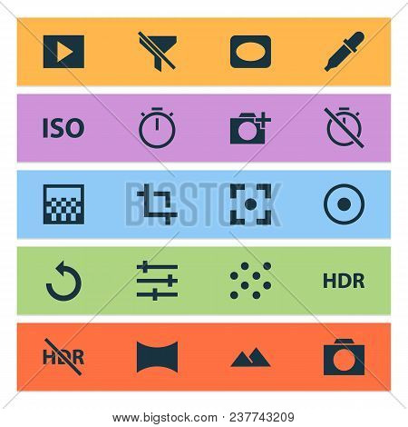 Photo Icons Set With Photographing, Pattern, Tune And Other Filtration Elements. Isolated  Illustrat
