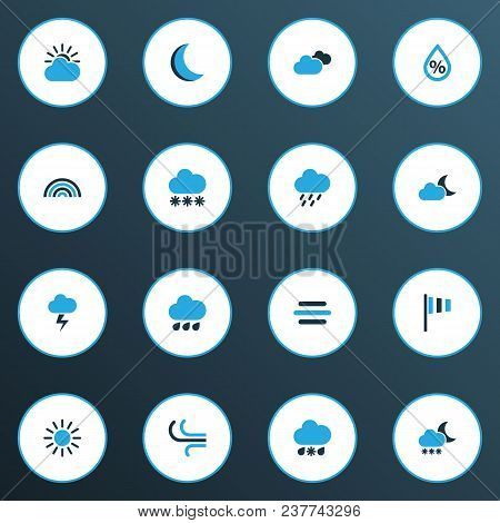 Weather Icons Colored Set With Wind, Moon, Breeze And Other Cold Weather Elements. Isolated  Illustr