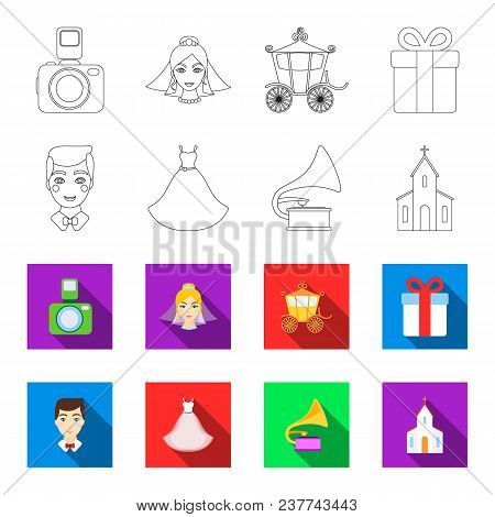 Wedding Dress, Groom, Gramophone, Church. Wedding Set Collection Icons In Outline, Flet Style Vector