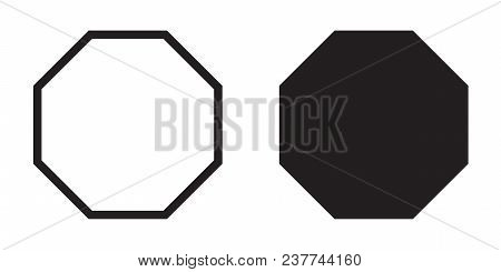 Octagon Icon Of Vector Geometry Octagonal Eight Sided Polygon Octagon Line
