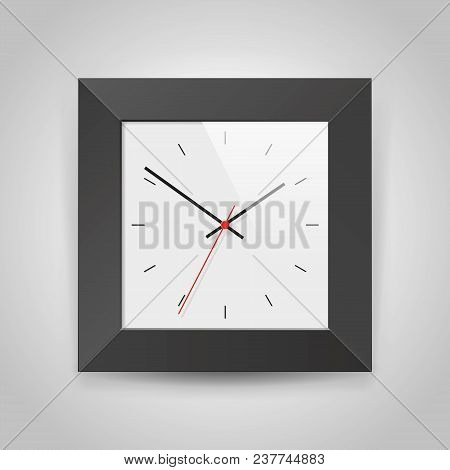 Simple Realistic Clock In Squre Black Frame On Light Gray Background. Watch On The Wall. Vector Desi