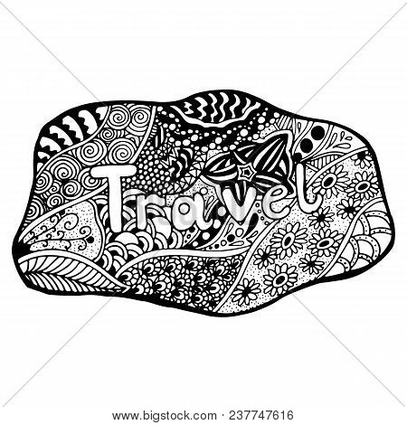 Detailed Hand Drawn Doodle Logo. Hand Drawn Logo In Doodle Style With Inscription Travel On It. Flor
