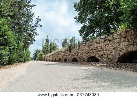 Remains Of An Ancient Roman Aqueduct Between Acre And Nahariya