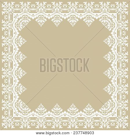 Classic Square White Frame With Arabesques And Orient Elements. Abstract Ornament With Place For Tex