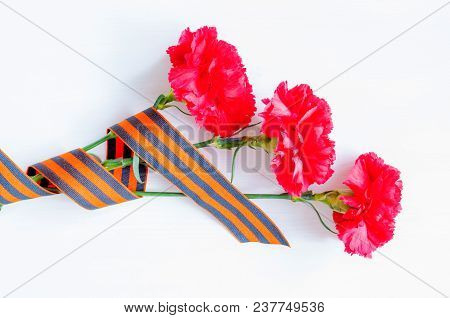 9 May Victory Day Background. Bright Red Carnations Wrapped In St George Ribbon On White Background,