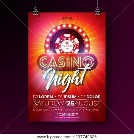 Vector Casino Night Flyer Illustration With Gambling Design Elements And Shiny Neon Light Lettering
