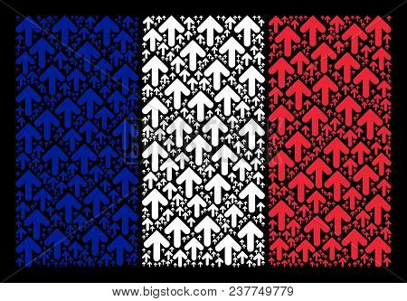 France State Flag Pattern Created Of Arrow Direction Design Elements. Vector Arrow Direction Items A