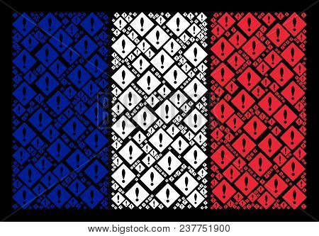 French Flag Collage Designed Of Error Elements. Vector Error Items Are Organized Into Conceptual Fre