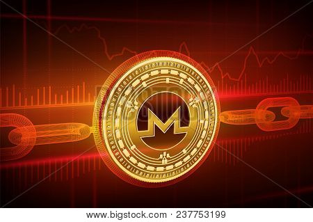 Crypto Currency. Block Chain. Monero. 3d Isometric Physical Golden Monero Coin With Wireframe Chain.