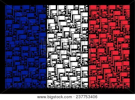 France State Flag Pattern Combined Of Flag Design Elements. Vector Flag Elements Are Organized Into