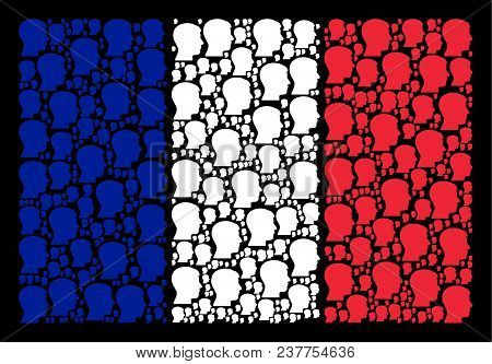 France National Flag Pattern Created Of Man Head Profile Pictograms. Vector Man Head Profile Items A