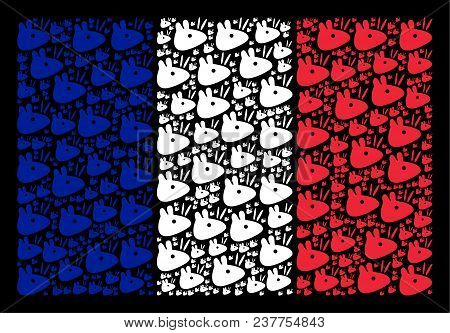 French National Flag Composition Organized Of Mouse Head Pictograms. Vector Mouse Head Objects Are C