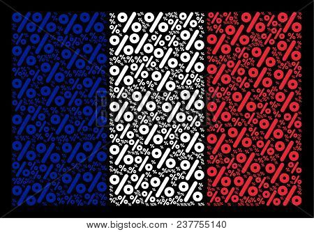 French Flag Pattern Combined Of Percent Pictograms. Vector Percent Objects Are United Into Geometric