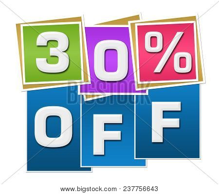 Thirty Percent Off Text Written Over Colorful Blue Background.
