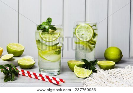 Green Lime And Mint Summer Cocktail With Ice