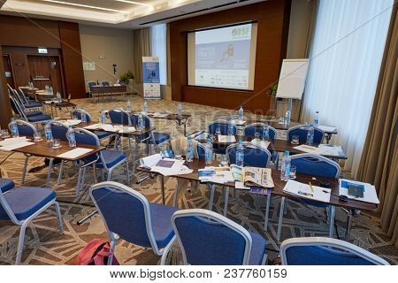 MOSCOW, RUSSIA - OCT 19, 2017: Auditorium in Hilton Garden hotel during break of Compliance Case Forum 2017. The forum organizer was the company Business Summit of Future.