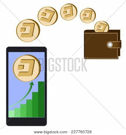 Transfer Dash Coins From Phone In The Wallet On A White Background,growth Diagram With Coin Of Dash