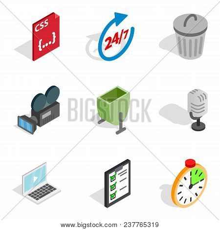 Portable Technology Icons Set. Isometric Set Of 9 Portable Technology Vector Icons For Web Isolated