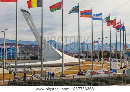 Sochi, Russia - February 25, 2017: Flags In The Olympic Park.