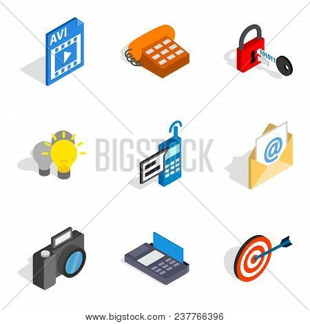 Mobile Progress Icons Set. Isometric Set Of 9 Mobile Progress Vector Icons For Web Isolated On White