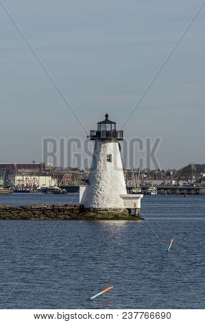 New Bedford, Massachusetts, Usa - April 24, 2018: Historic Landmark Palmer Island Light Station On A