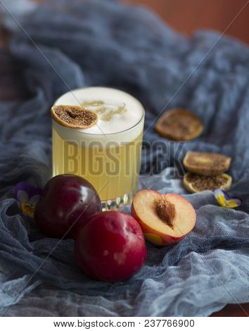 Spring Fruit And Alcohol Cocktail With Plum And Figs