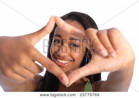 Beautiful Black Teenage Girl Fun Hand Frame Sign