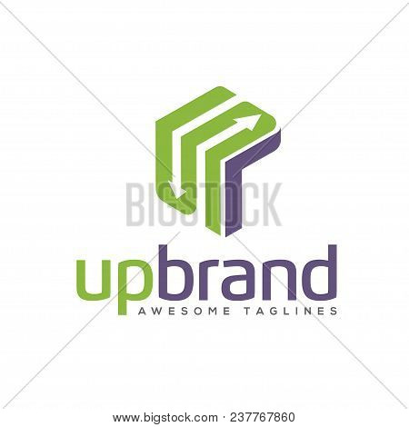 Arrows Box Rectangle Logo, 3d Arrow Link Business Logo Concept Illustration, Abstract Cube Arrows, B