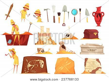 Archeology Set Of Icons With Explorers, Science Equipment, Ancient Artifacts Including Tombs, Fossil