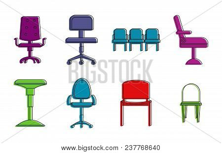 Chairs Icon Set. Color Outline Set Of Chairs Vector Icons For Web Design Isolated On White Backgroun