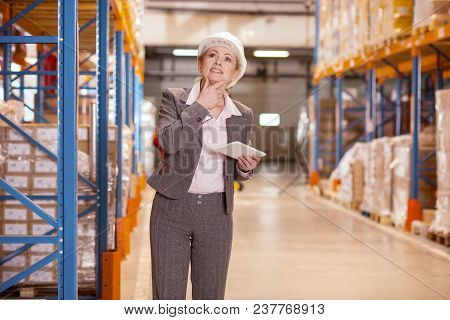 Logistic Problem. Pleasant Thoughtful Woman Holding Her Chin While Thinking About The Logistics Prob