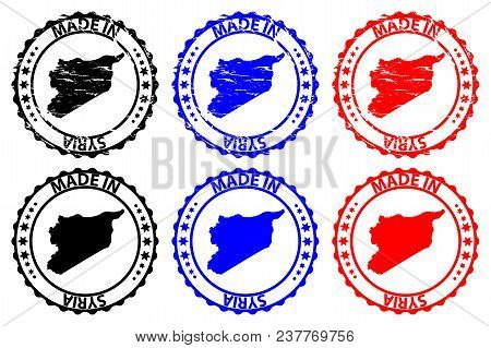 Made In Syria - Rubber Stamp - Vector, Syria Map Pattern - Black, Blue And Red