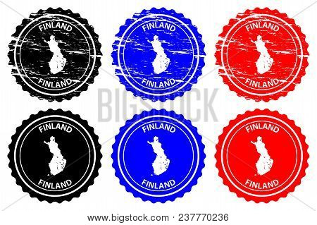 Finland - Rubber Stamp - Vector, Finland Map Pattern - Sticker - Black, Blue And Red