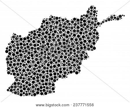 Afghanistan Map Composition Of Circle Elements In Variable Sizes. Scattered Round Dots Are Composed