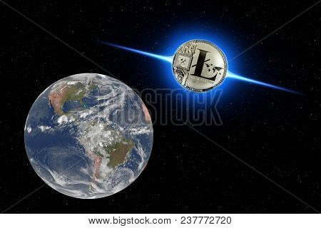 Coin Litecoin Flies To Earth From Outer Space. New Technologies, Values. The Invasion Of Letecoins.